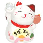 Gato Manekineko Cofre c/Bola e Kozuti 12cm