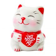 Gato Makekineko Coração Vermelho 5,5cm