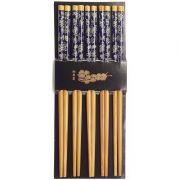Palitos Hashi Bambu 5 Pares Azul Marinho Floral Borboletas Cartela