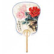 Ventarola Floral Rosa / Vermelho 33 cm