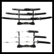 Espada Katana Conj 3 Pçs /daito+wakizashi+tanto+suporte+óleo