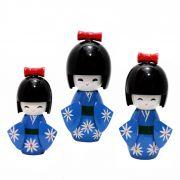 Kokeshi Trio Laço Azul