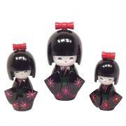 Kokeshi Trio Laço Preto