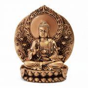 Buda Dourado Sentado Trono 18 cm