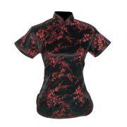 Blusa Chinesa Tradicional Preta Flor de Cerejeira Sakura Tamanho 40