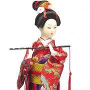 Boneca Gueixa Flauta Kimono Vermelho/Roxo