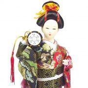 Boneca Gueixa Tambor Kimono Preto / Vermelho