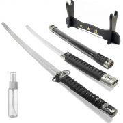 Espada Ninja Musashi Especial c/ 2 Lâminas Embutidas + Suporte 3 Espadas + Lubrificante