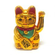 Gato da Sorte Manekineko Dourado 12,5 cm / Funciona a pilha