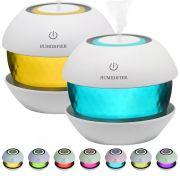 Kit 2 un. Umidificador de Ar Ultrassônico Magic Diamond c/ Flaconetes de essências 2 ml / Aromatizador / Luminária c/ 7 Cores de Luzes Alternadas, Carregamento USB / Ideal p/ Casa e Veículo