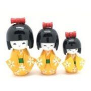 Kokeshi Trio Laço Amarelo