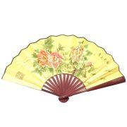 Leque Dourado Floral Papoulas 60 x 33cm