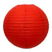 Luminária Oriental Vermelha Lisa 40 cm