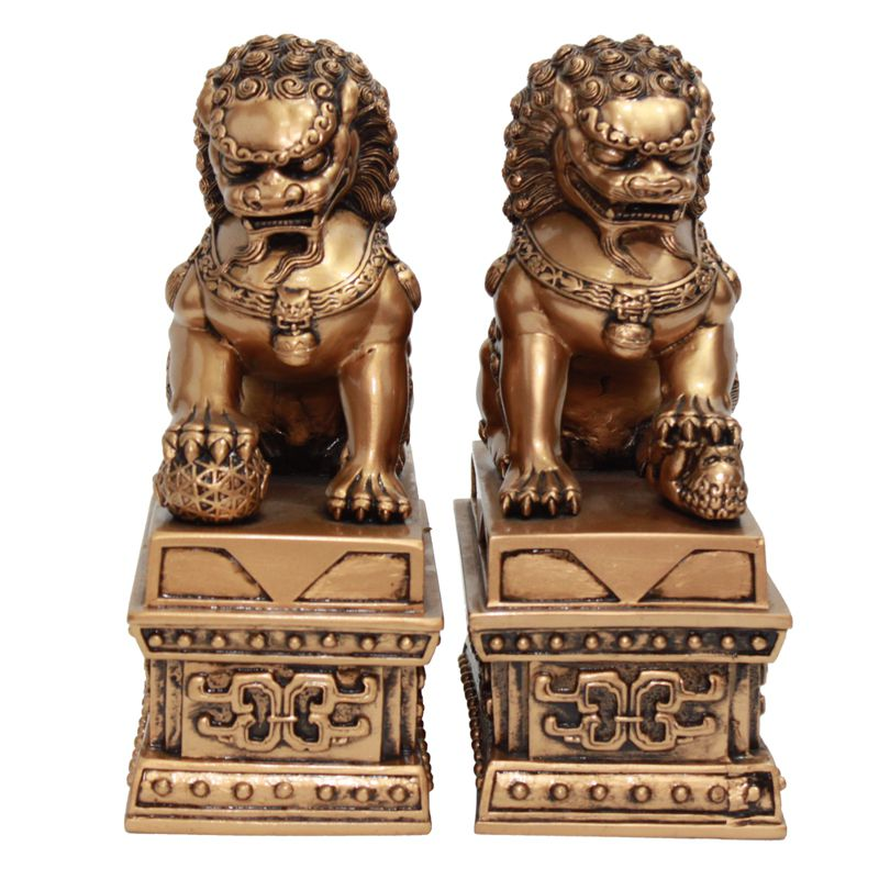 Leão Guardião Shisa Dourado 16 x 19,5 cm