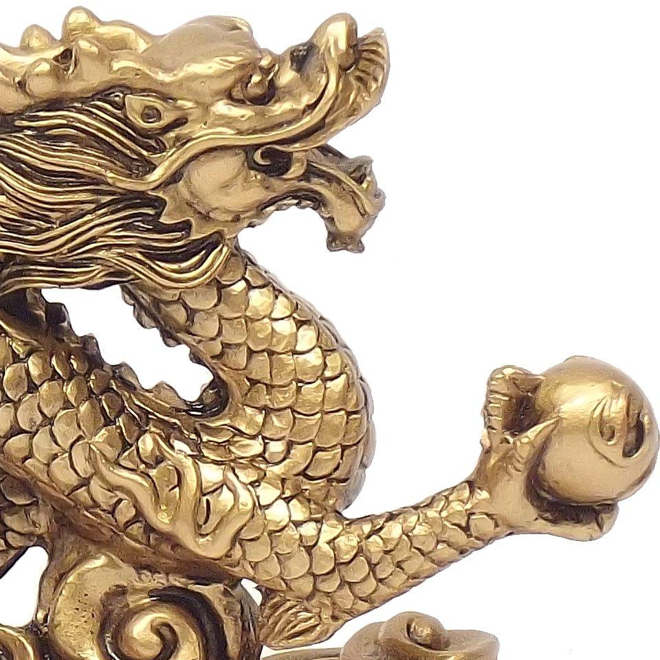 Dragao Dourado c/ Base 15 x 9 cm