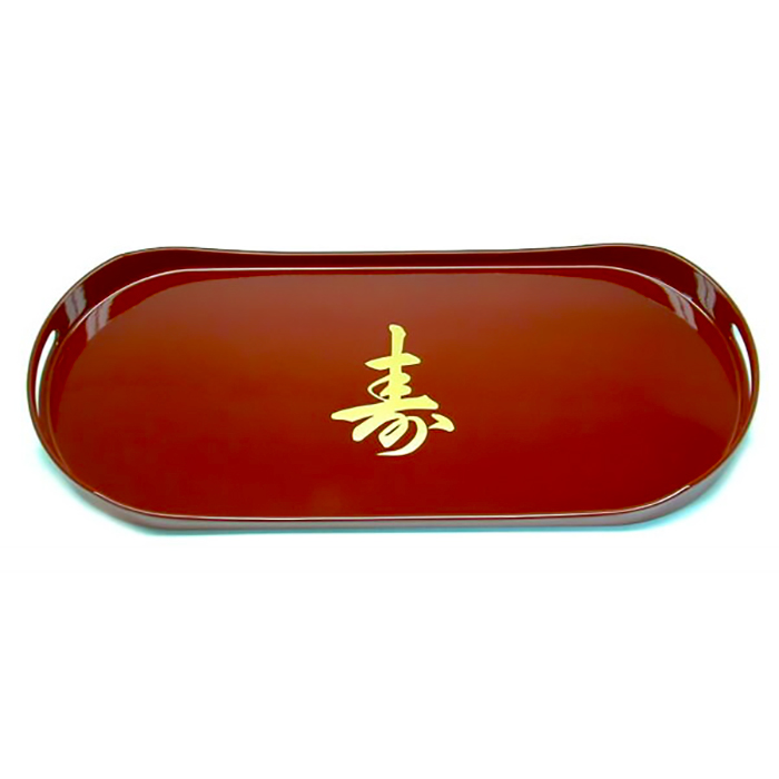 Bandeja Retangular Arredondada Vermelha Kanji 48 x 20cm