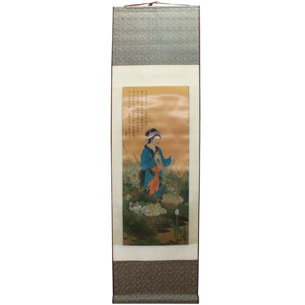 Painel Chinesa Vestido Azul 32 x 120cm