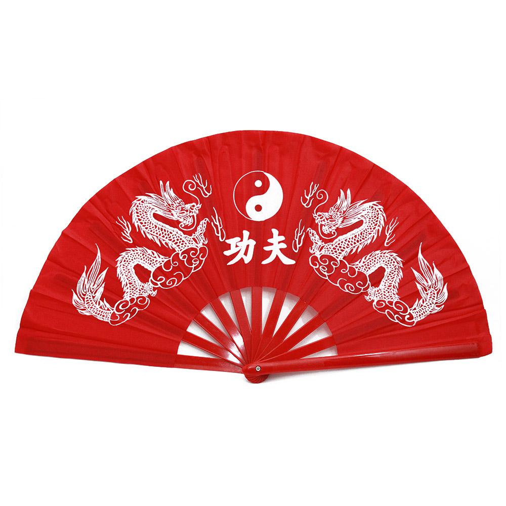 Leque Taichi Bambu Dragão Ying Yang Vermelho  34 cm
