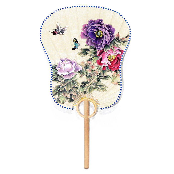 Ventarola Floral Lilás / Roxo 33 cm