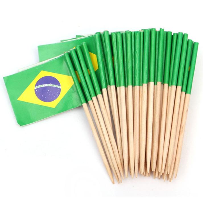 Espeto Bandeira do Brasil c/ 50 unid.