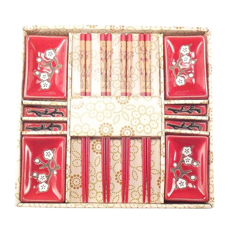 Jogo de Sushi Vermelho Sakura 12 pç