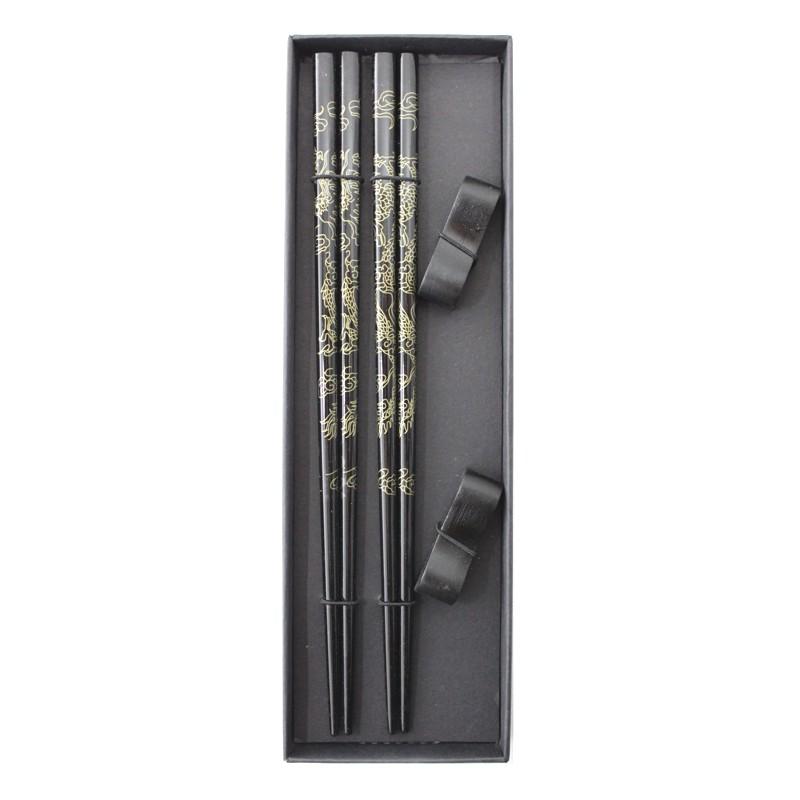 Palitos Hashi Bambu 2 pares / 2 apoios Dragão Caixa