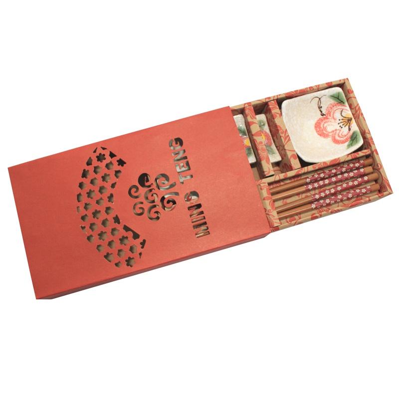 Jogo de Sushi Bege Flor Vermelha 6 pç