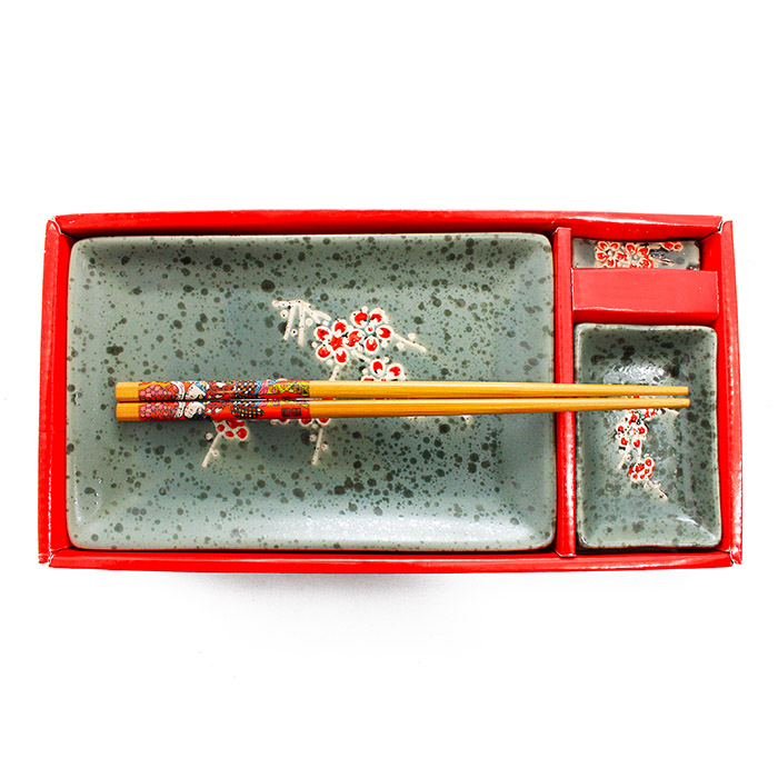 Jogo de Sushi Cinza Cerejeira 4 pç