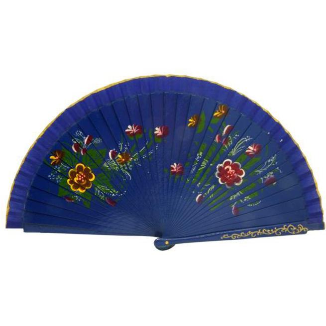Leque Artesanal em Madeira Azul Floral 23 x 42 cm