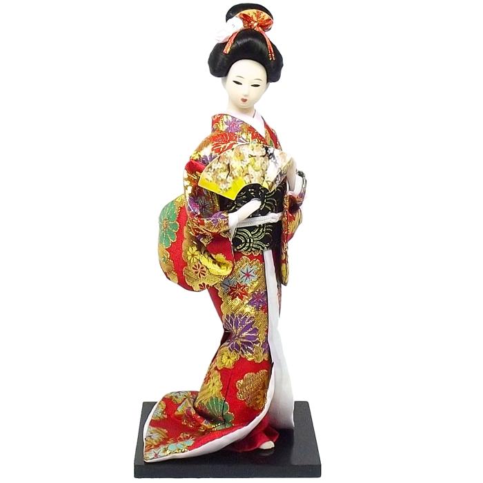 Boneca Gueixa Leque Kimono Vermelho c/ Dourado