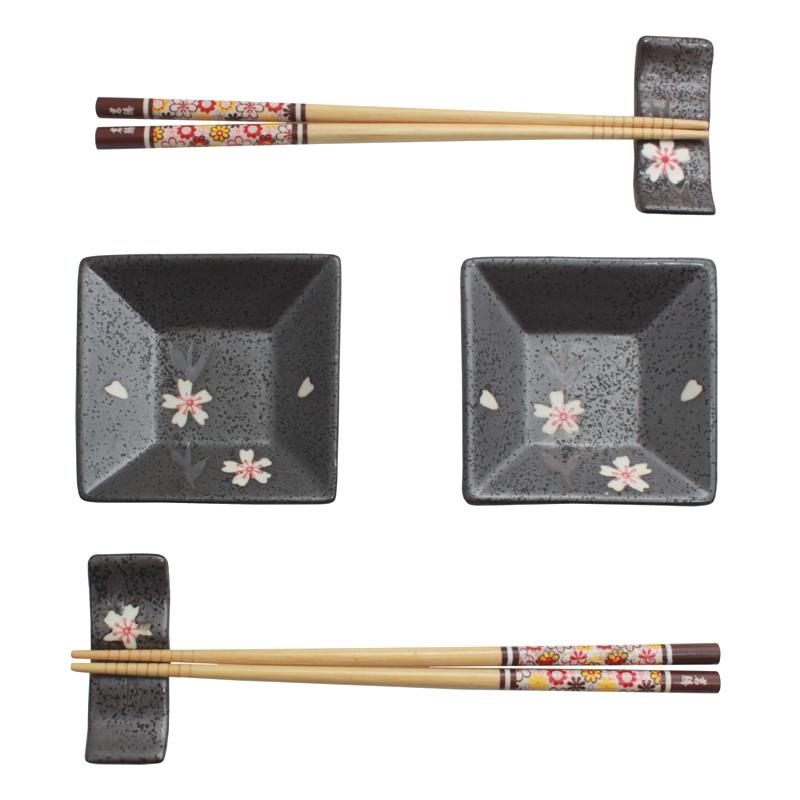Jogo de Sushi Cinza Cerejeira 6 pç