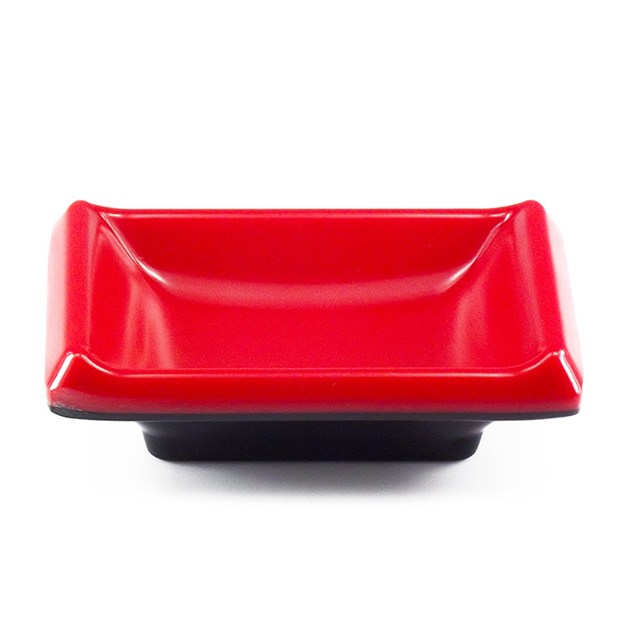 Molheira Nozoki Retangular Melamina Vermelha / Preta 9 x 6,5 cm