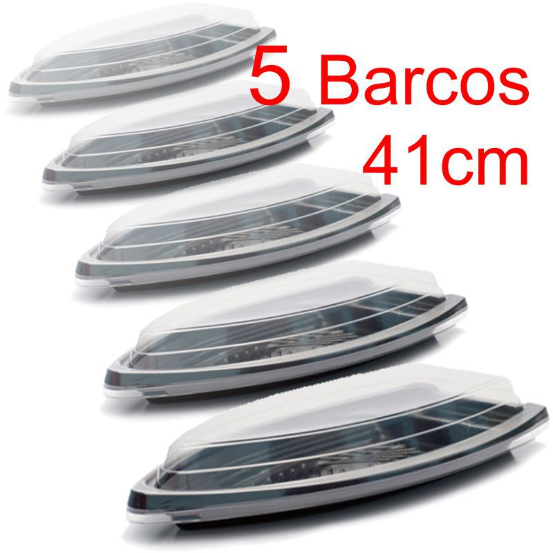 Barco Descartável c/tampa 41 x 21 cm 1,5 l Kit c/ 5 pcs