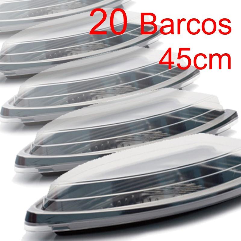 Barco Descartável c/ tampa 45cm x 22,5 cm (2 l) Kit c/ 20 pcs