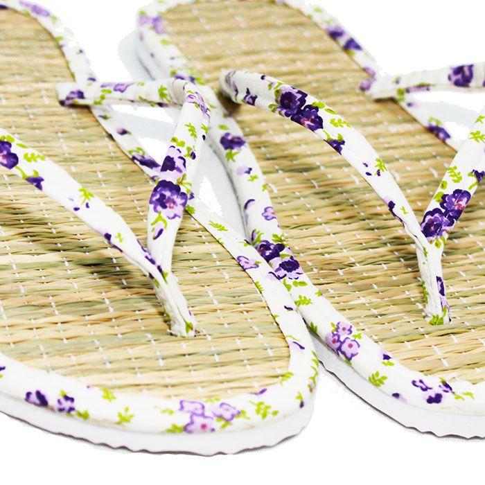 Chinelo de Palha Tricoline Floral Lilás
