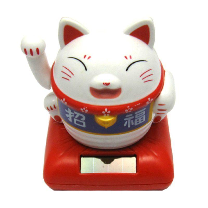 Gato da Sorte Manekineko Branco Solar 10 cm