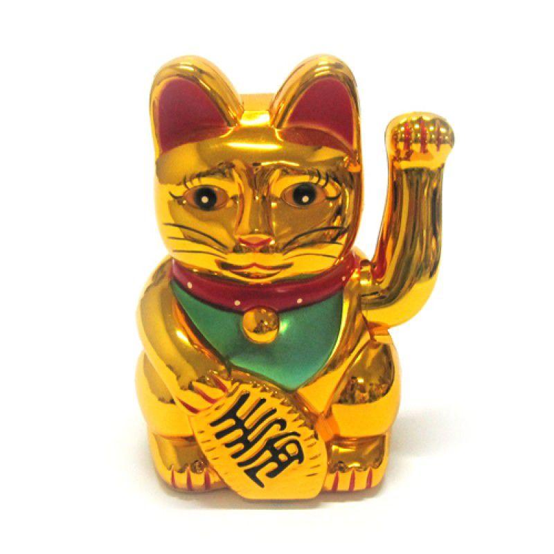 Gato da Sorte Manekineko Dourado à Pilha 12,5 cm