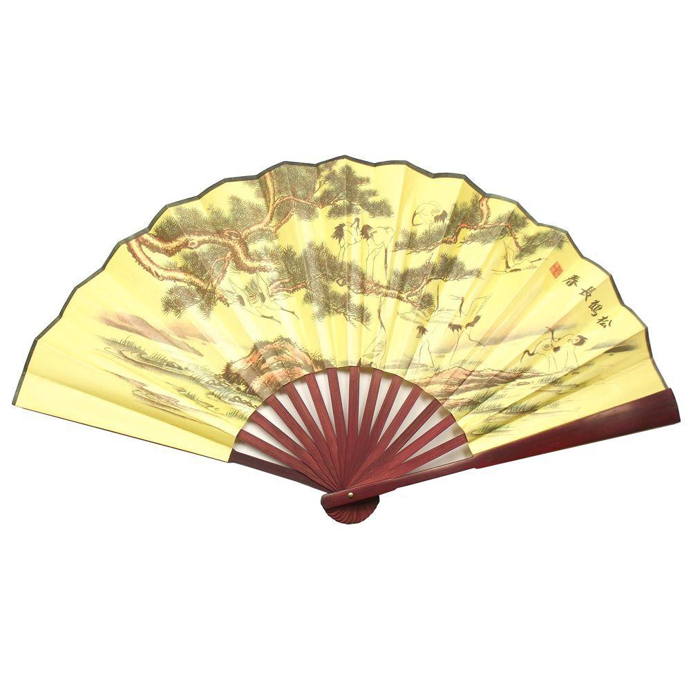 Leque Dourado Bonsai Tsuru 60 x 33 cm