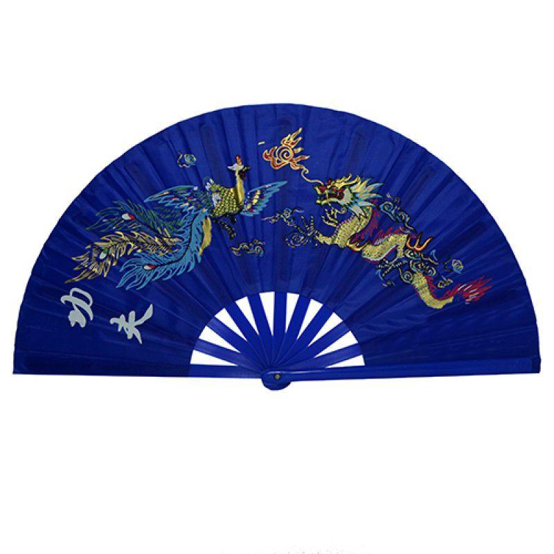 Leque Taichi Poliuretano Fênix e Dragão Azul 34cm