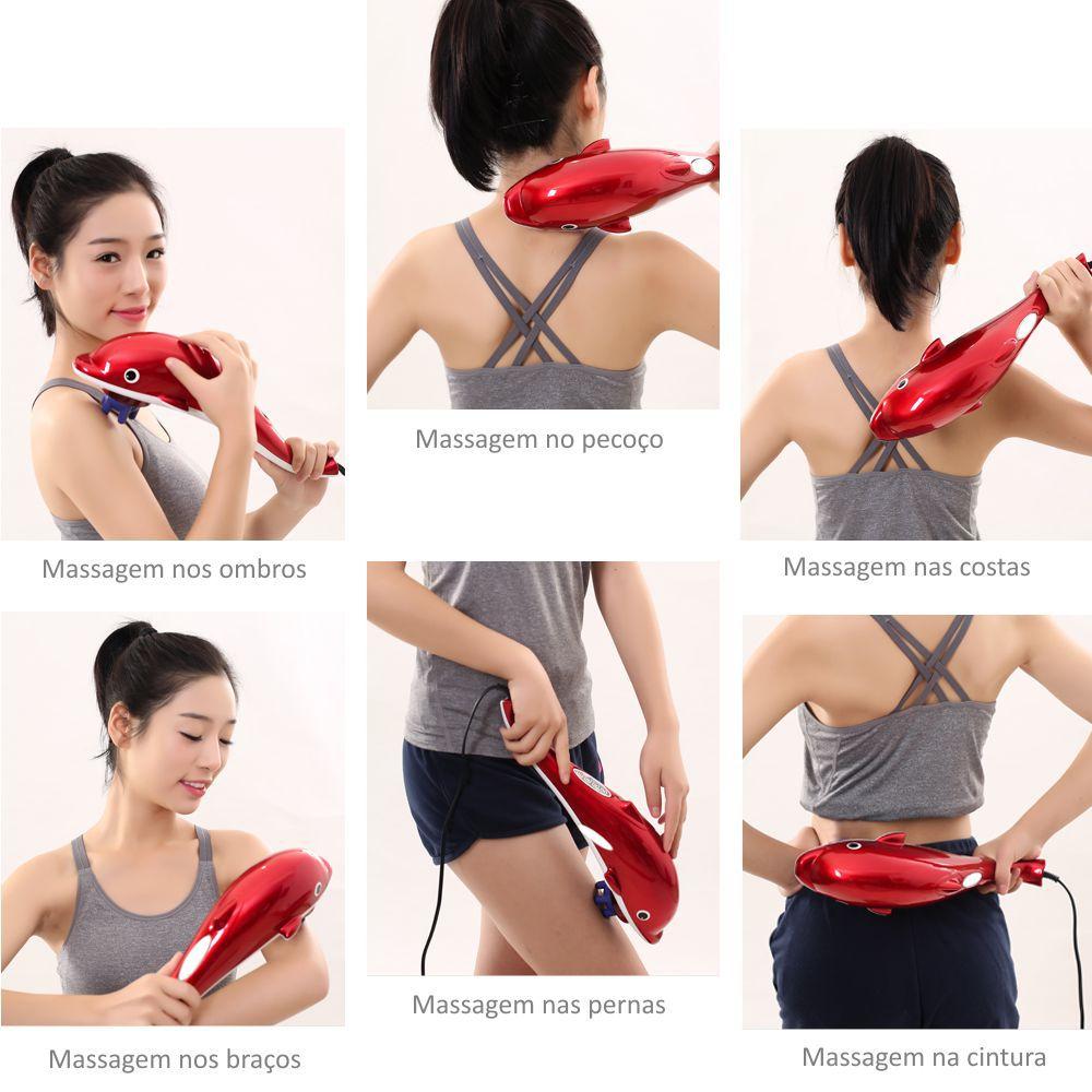Massageador Elétrico Fisioterapêutico Golfinho Vermelho Alivia tensão, Dores e Relaxa Músculos 110v