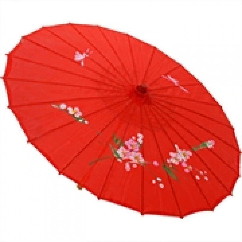 Sombrinha Oriental Decorativa Vermelha 85 cm