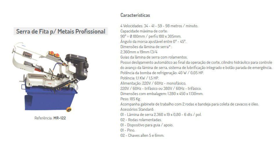 MR-122 SERRA FITA PARA METAIS PROFISSIONAL 220V/60HZ/3PH