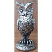 Peça Decorativa em Gesso Metalizado – Coruja Espelhada