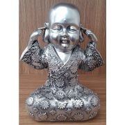Peça Decorativa em Gesso Metalizado – Monge não ouço