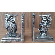 Peça Decorativa em Gesso Metalizado – Par de Corujas Porta-Livros