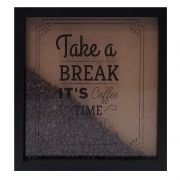 Quadro Decorativo Café com Grãos Take a Break It's Coffe Time 33x33cm