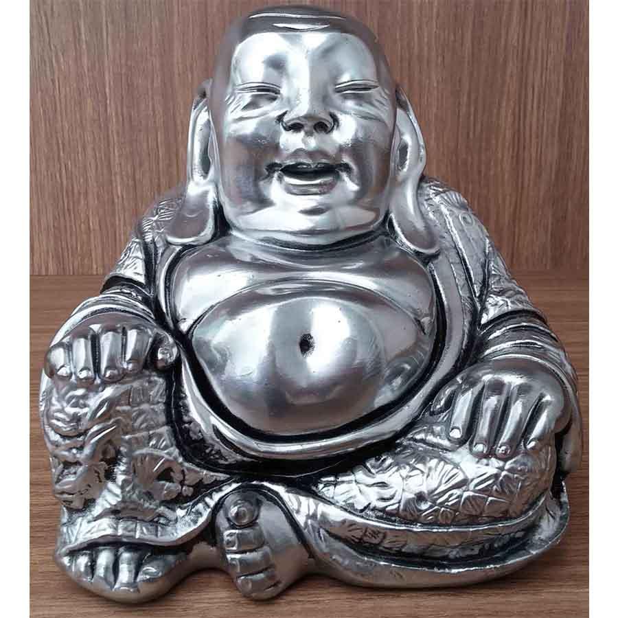 Peça Decorativa em Gesso Metalizado Buda Japonês Sentado