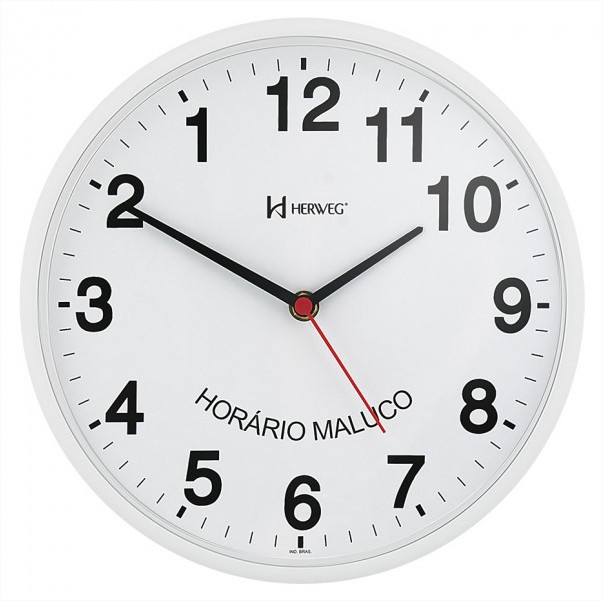 Relógio de Parede Horário Maluco Invertido Herweg 6646