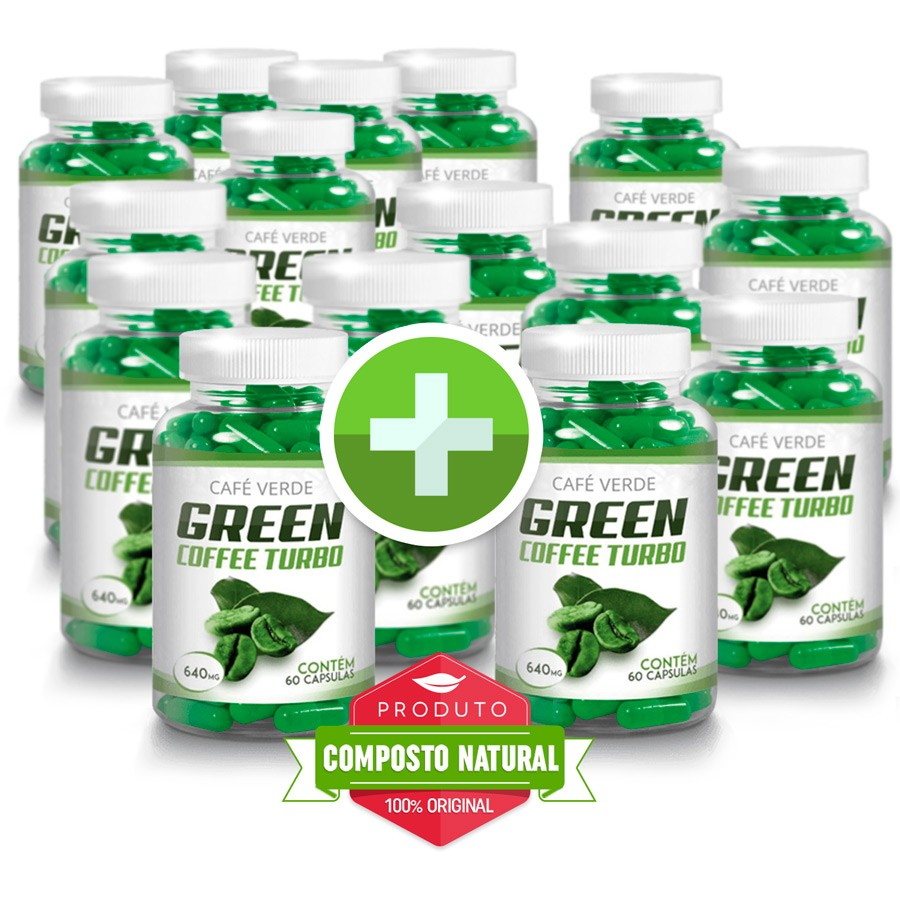 Green Coffee - Compre 10 e leve 15 potes - Original 640mg - 60 Cápsulas