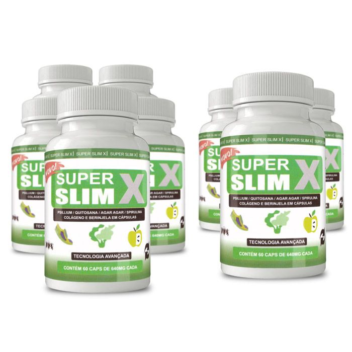 Super Slim X Original - 60 Cápsulas 640mg - Compre 5 Leve 8